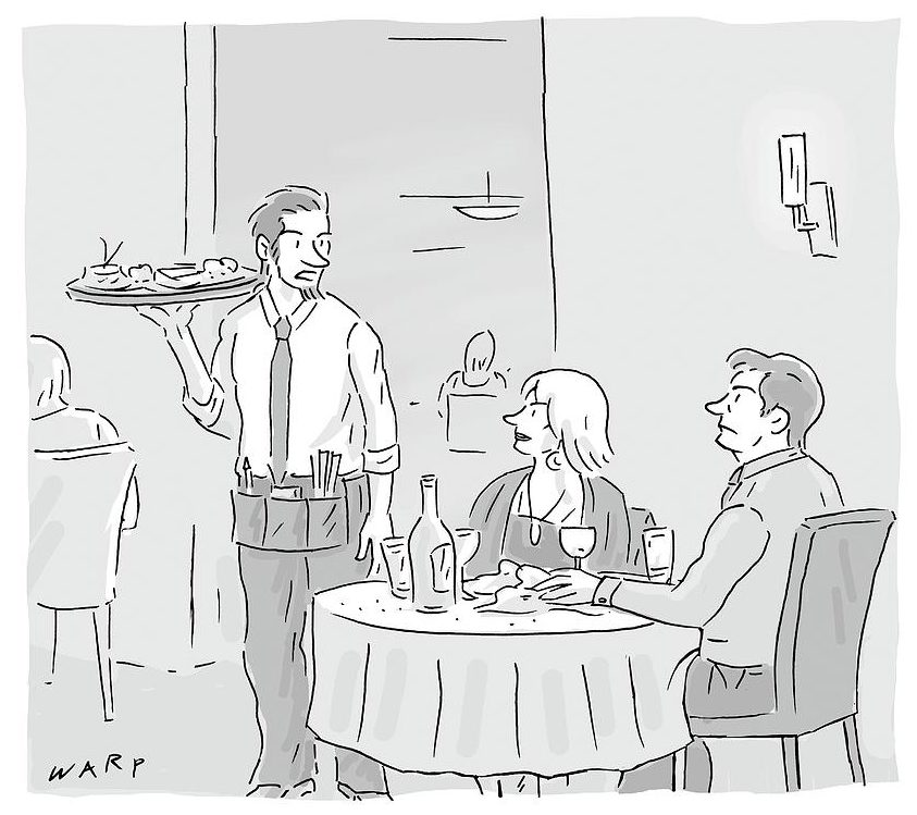 A cartoon showing a waiter speaking to a couple in a restaurant.